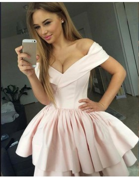 Off the Shoulder Pearl Pink Pleated Homecoming Dress with Layered Skirt HD3217