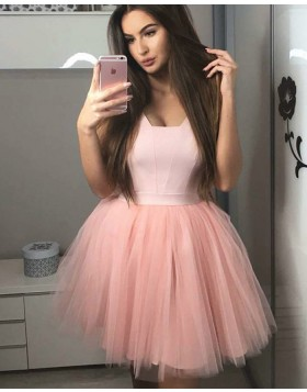 A-line Simple Satin and Tulle Pink V-neck Homecoming Dress HD3220