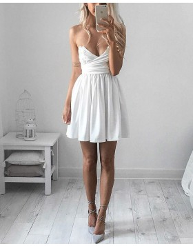 Simple White V-neck Ruched Satin Homecoming Dress with Pleats HD3223