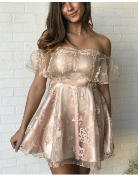 Off the Shoulder Champagne Satin Short Homecoming Dress with Lace HD3225