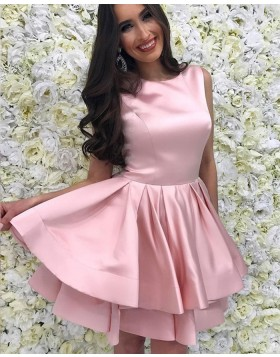 Jewel Blush Pink Satin Layered Simple Homecoming Dress with Pleats HD3227