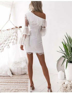 Asymmetric White Lace Tight Homecoming Dress with Long Sleeves HD3230