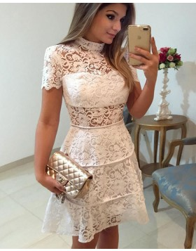 High Neck White Lace A-line Homecoming Dress with Short Sleeves HD3235