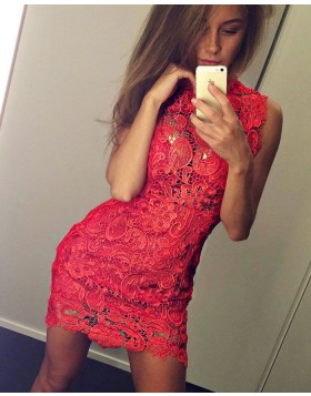 Sleeveless High Neck Lace Red Bodycon Sexy Party Dress HD3237