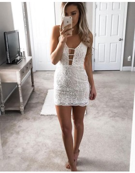 Ivory Spaghetti Straps Cutout Tight Lace Sheath Club Dress HD3240