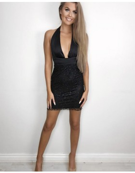 Halter Deep V-neck Black Tight Sequined Club Dress HD3241