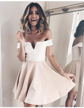 Off the Shoulder Simple White and Pink Cutout Satin Homecoming Dress HD3242