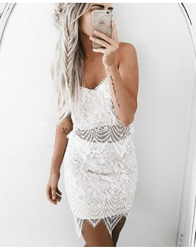 Elegant White Spaghetti Straps Tight Lace Homecoming Dress HD3243
