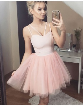 Double Spaghetti Straps Pink Tulle Homecoming Dress HD3244