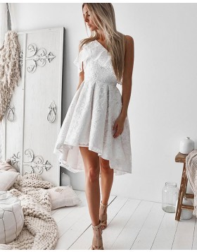 One Shoulder Lace High Low White Homecoming Dress HD3253