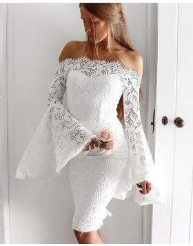 Off the Shoulder White Lace Knee Length Homecoming Dress with Bell Sleeves HD3254