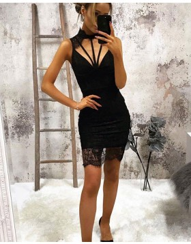 High Neck Cutout Lace Black Tight Party Dress HD3260