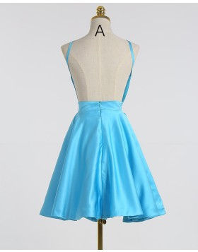 A-line Spaghetti Straps Satin Light Blue Short Homecoming Dress HD3263