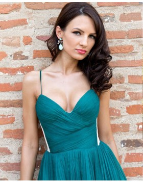 Spaghetti Straps Dark Green Ruched A-line Homecoming Dress HD3264
