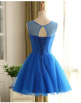 Jewel Beading Bodice Blue Homecoming Dress with Tulle Skirt HD3265