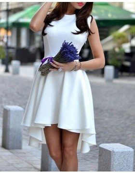 Jewel White Fit and Flare High Low Satin Homecoming Dress HD3268