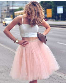 Two Piece Square White and Pink Short Party Dress with Tulle Skirt HD3269
