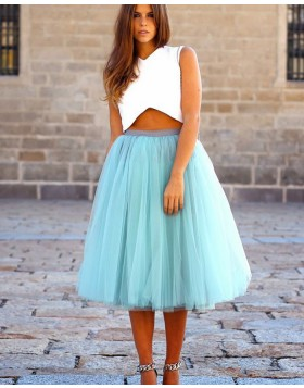Two Piece White and Mint Knee Length Formal Dress with Tulle Skirt HD3272