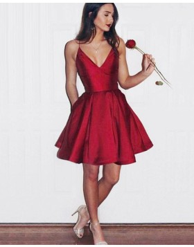 Simple Satin Rose Red Spaghetti Straps Homecoming Dress with Pockets HD3273