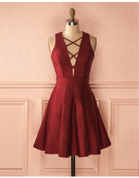Simple Crisscross Satin Burgundy Short Formal Dress HD3274