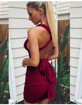Simple Convertible Burgundy Ruched Tight Homecoming Dress HD3276