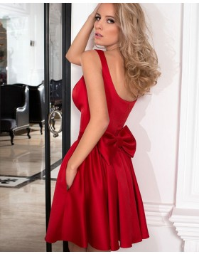 Simple Square Satin Pleated Red Homecoming Dress with Pockets HD3277