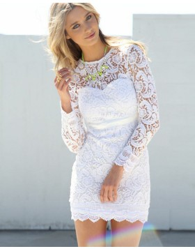 Jewel White Lace Tight Short Formal Dress with Long Sleeves HD3279