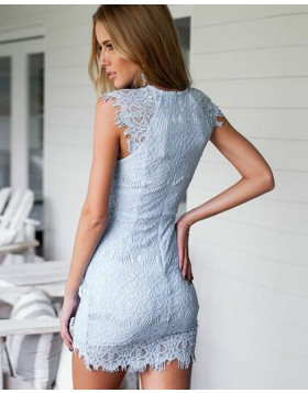 High Neck Ivory Lace Ruched Bodycon Club Dress HD3280