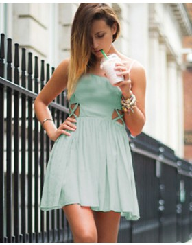 Square Mint Pleated Chiffon Cutout Short Formal Dress HD3283