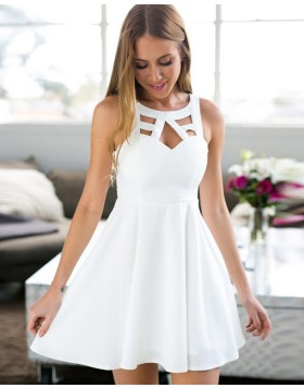 Jewel White Satin Cutout Pleated Empire Homecoming Dress HD3284