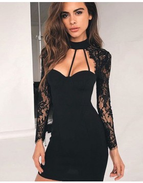 f306a9ca356 High Neck Black Cutout Tight Club Dress with Lace Long Sleeves HD3285 ...