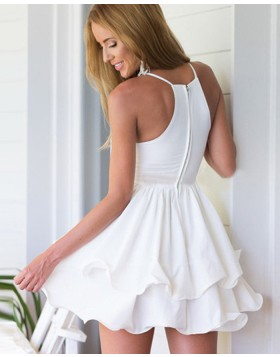 Simple White V-neck Layered Pleated Homecoming Dress HD3287