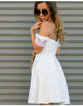 Off the Shoulder White Lace A-line Short Homecoming Dress HD3288