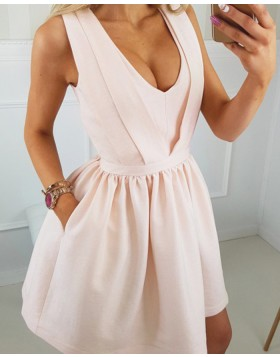 Scoop Pearl Pink Satin Simple Homecoming Dress with Pockets HD3289