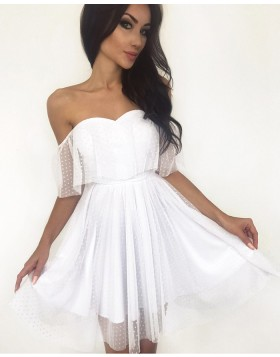 Off the Shoulder Polka Dot Net Pleated Homecoming Dress HD3290