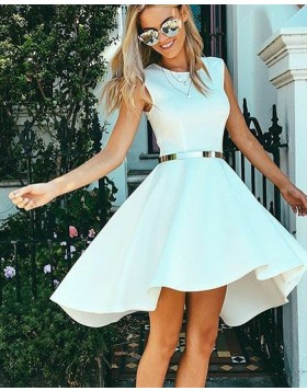 Simple Fit & Flare White Jewel Satin A-line Homecoming Dress HD3291