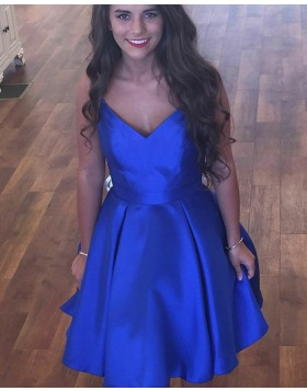 Simple V-neck Royal Blue Pleated Homecoming Dress with Pockets HD3292
