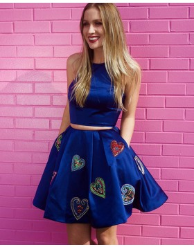 Two Piece Blue Jewel Appliqued Homecoming Dress with Pockets HD3293