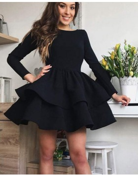 Simple Black Satin Layered Homecoming Dress with Long Sleeves HD3294