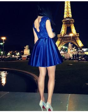 Jewel Royal Blue Lace Bodice Satin Pleated Homecoming Dress HD3295