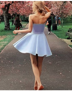 Simple A-line Strapless Light Purple Satin Homecoming Dress with Side Zipper HD3296