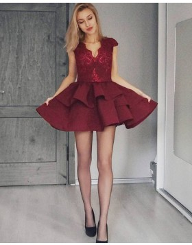V-neck Burgundy Lace Bodice Satin Homecoming Dress with Layered Skirt HD3299