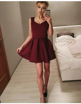 Scoop Fit & Flare Burgundy Pleated Homecoming Dress HD3301