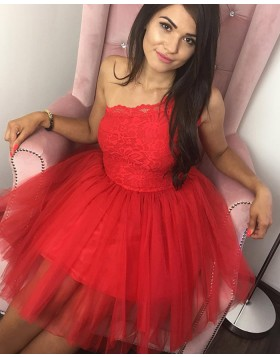 Scoop Red Lace Bodice Ball Gown Short Homecoming Dress HD3303