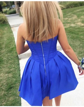 Simple Sweetheart Satin Blue Pleated Homecoming Dress HD3304