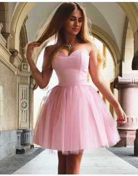 Sweetheart Pink Simple Satin & Tulle Homecoming Dress HD3306