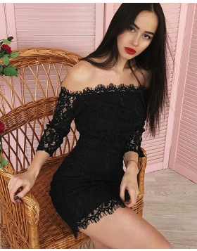 Off the Shoulder Black Tight Lace Club Dress with 3/4 Length Sleeves HD3307
