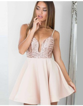 Spaghetti Straps Sequined Bodice Homecoming Dress with Satin Skirt HD3310