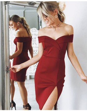 Off the Shoulder Burgundy Tight Satin Homecoming Dress with Slit HD3312