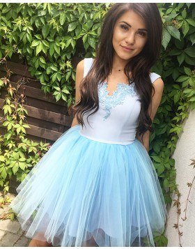 V-neck White and Blue Homecoming Dress with Tulle Skirt HD3316